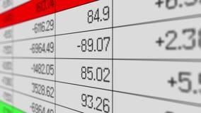 Результаты продаж изменяя в электронной таблице, учитывая отчете, массиве информации иллюстрация штока