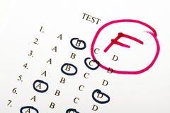 Результаты теста в школе Стоковое Фото