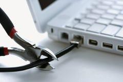 резцы кабеля режа компьтер-книжку для того чтобы связать проволокой Стоковые Фотографии RF