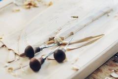 Резцы для деревянных и деревянных shavings на таблице Стоковые Изображения RF
