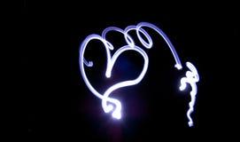 резьба сердца неоновая Стоковые Изображения