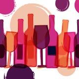 резюмируйте вектор bush предпосылки безшовный Бутылки красного, розового вина, gla Стоковое Изображение