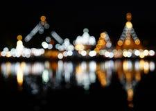 Резюмируйте запачканный свет bokeh Wat Chong Klang и Wat Chong Kh Стоковое Фото