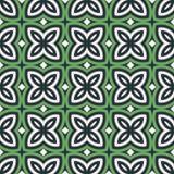 резюмируйте зеленый цвет предпосылки флористический Безшовная картина с симметричным геометрическим орнаментом Стоковые Изображения RF