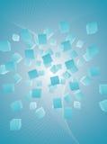 резюмируйте кубики предпосылки голубые летая свет Стоковые Фотографии RF