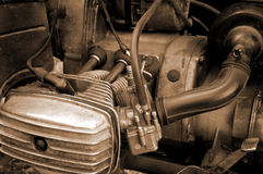 резюмируйте мотоцикл двигателя предпосылки близкий вверх Стоковая Фотография