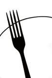 Резюмируйте не фигуративный силуэт вилки, черно-белого искусства кухни Стоковое Изображение RF