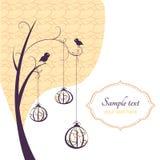 Резюмируйте предпосылку, дерево с птицами Стоковая Фотография