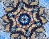 Резюмируйте прессованную мандалу с голубым, коричневый, белый, апельсин Стоковая Фотография