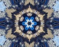 Резюмируйте прессованную мандалу с голубым, коричневый, белый Стоковое Изображение RF