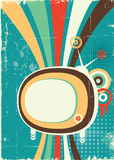 Резюмируйте ретро телевидение. Vector плакат Стоковые Изображения RF
