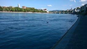 Рейн в Basle с некоторым горизонтом лета Стоковая Фотография