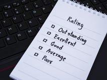 Рейтинг производительности на ключевой доске 1 компьтер-книжки Стоковые Фотографии RF