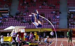 РЕЙЧЕЛ BAXTER США на событии прыжка с шестом в чемпионате Тампере мира U20 IAAF, Финляндии 10-ое июля 2018 стоковое изображение