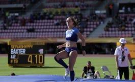 РЕЙЧЕЛ BAXTER США на событии прыжка с шестом в чемпионате Тампере мира U20 IAAF, Финляндии 10th стоковое фото rf