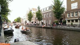 Река Амстердама в утре Стоковое фото RF