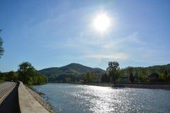 Река Босния в маленьком городе Maglaj Стоковая Фотография RF