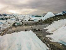 Река внутри ледник Matanuska, Аляска Стоковое Изображение RF