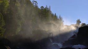 Река водопада в горах на восходе солнца видеоматериал
