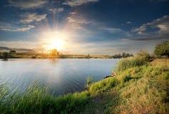 Река в вечере Стоковая Фотография