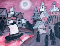 Река в городе, иллюстрация акварели Стоковые Изображения