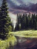 Река в красочном лесе иллюстрация штока
