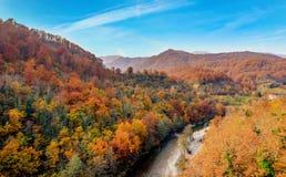 Река в осени, Черногория Moraca Стоковые Изображения RF
