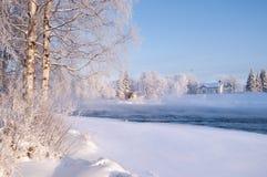 Река в снежном ландшафте зимы Стоковое фото RF