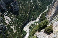 Река в ущельях du Verdon, Провансали в Франции Стоковое Изображение RF