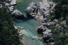 Река в ущельях du Verdon, Провансали в Франции Стоковые Фотографии RF