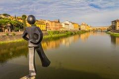 Река в Флоренсе, Италии Стоковая Фотография RF