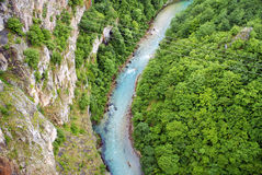 Река в Черногории, взгляде от верхней части Стоковое Изображение