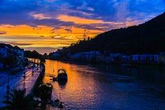 Река Гейдельберга на заходе солнца Стоковое Изображение RF