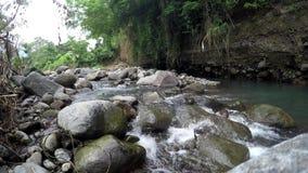 Река горы брызгая воду пропуская через утесы по потоку видеоматериал