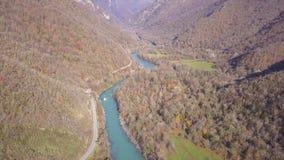 Река горы в ущелье между утесами и деревьями, видом с воздуха ландшафта горы зажим Вид с воздуха реки сток-видео