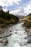 Река горы и окружающая среда ландшафта деревьев hiking alps Покрашенные холмы, большие горы Стоковые Фото