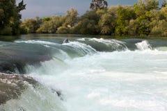 Река горы, красивая вода мелководья горы Речные пороги воды Река горы, водопад речного порога зеленого цвета леса Стоковые Изображения RF