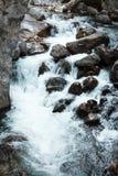 Река горы, красивая вода мелководья горы Речные пороги воды Река горы, водопад речного порога зеленого цвета леса Стоковые Фотографии RF