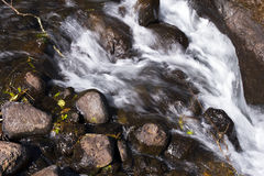Река горы малое пропуская над долгой выдержкой утесов стоковая фотография rf