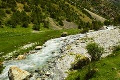 Река горы, ущелье Galuyan, Кыргызстан Стоковая Фотография RF