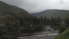 Река гор в природе Georgia кавказца с деревьями и облаками сток-видео