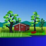 река дома бесплатная иллюстрация