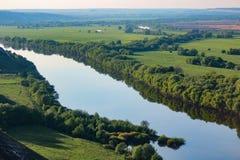 Река Дон Россия взгляд сверху замотки Стоковые Изображения