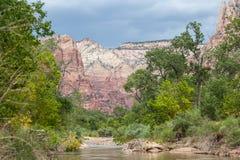 Река девственницы в национальном парке Сиона в Юте стоковое фото
