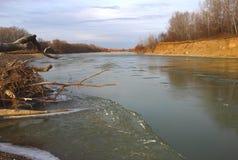Река, лед, выхваты Стоковое Фото