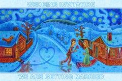 Река замерло и groom приехал для невесты на коньках Стоковые Изображения