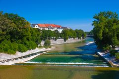 Река Изар Мюнхена Стоковое Изображение RF