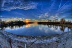 Река и заход солнца Стоковая Фотография RF