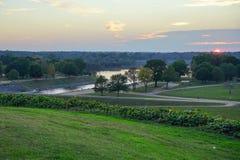 Река и заход солнца Стоковое фото RF
