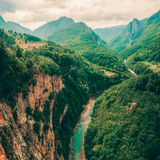 Река и каньон Тары, и своя сельская местность, в северной Черногории Черногория, река Тары рядом с мостом Djurdjevi стоковые фотографии rf